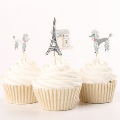 24 Pieces Paris France Eiffel Tower Cupcake by BellasNotions