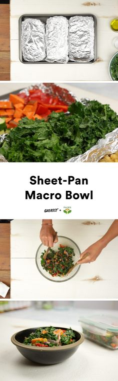 A tasty meal doesn't get any easier than this.  #greatist https://greatist.com/eat/sheet-pan-meal-prep-bowl