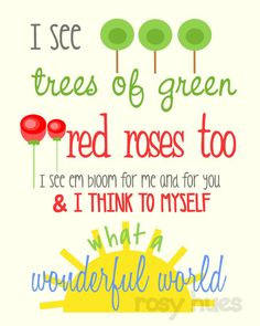 What a Wonderful World lyrics Kids wall art Nursery by RosyHuesArt, $12.00