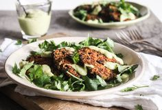 vegan // sweet potato and quinoa fritters with avocado-lime sauce