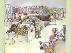 Even naar de winkel: Digitaal prentenboek Euro, Preschool Themes, Fruit, Projects, Painting, Tents, Preschool, Money, Log Projects