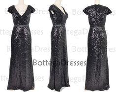 Mermaid Short Sleeves Black Sequined Long by BottegaDresses, $169.00