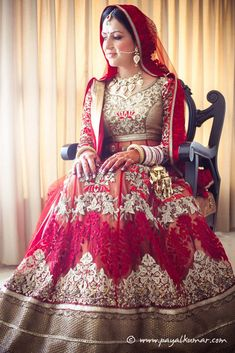 Red threadwork lehenga.  Indian wedding lehenga, indian wedding clothes, indian bride