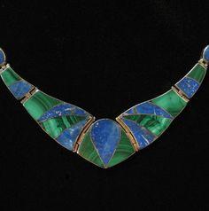Vintage inlaid malachite and lapis necklace