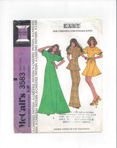 McCall's 3583 Pattern for Misses' Dress, Top, Pants, Size 16, For Unbonded Stretch Knits, From 1973, Vintage Pattern, Home Sewing Pattern by VictorianWardrobe on Etsy
