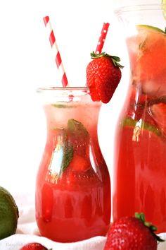 Erdbeerlimonade mit Limette und frischer Minze - von Kleinstadthippie