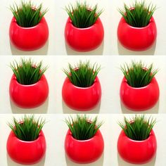 Hand painted tomato red wall planters by sewZinski