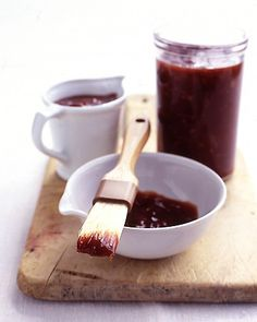 Barbecue Sauce - Martha Stewart Recipes It takes just thirty minutes to make and keeps for at least one month. Brush the sauce on ribs or whatever you may be barbecuing. going-to-make-it Best Barbecue Sauce, Homemade Barbecue Sauce, Barbecue Sauce Recipes, Homemade Bbq, Grilling Recipes, Cooking Recipes, Bbq Sauces, Grill Barbecue, Rub Recipes