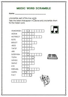 A 20 question crossword puzzle based on the instruments of ...