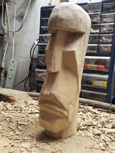 Another update - it needs a ton of sanding - look at the top of his head, gah! It's all bumpy and looks like crap. The goal is quite a bit smoother...and rounder. I've completed most of the chisel ...