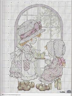Schema punto croce Sarah Kay e l'ora del the | Hobby lavori femminili - ricamo - uncinetto - maglia
