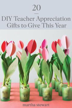 Teacher appreciation gifts are some of the best ways to show just how much the educators in your family's lives mean to you. What better way to show your appreciation than by creating a heartfelt gift? Here, we're showing a combination of adult- and kid-friendly crafts that double as DIY teacher appreciation gifts. #marthastewart #diydecor #diyprojects #diyideas #handmadegiftideas