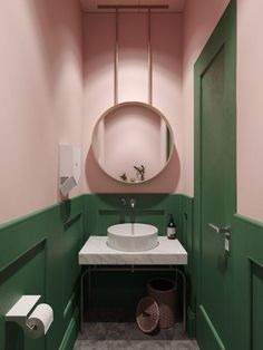 Pink and Green Cloakroom