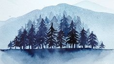 Painting with watercolors: Wintery pine tree forest