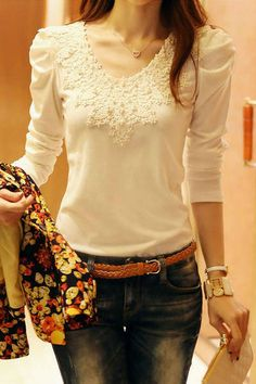 Fashion Women Lady Casual Blouse Slim Lace Long Sleeves Shirt Losse Tops T-shirt Lace Tops, Floral Tops, Tee Shirt Dentelle, Plus Size Kleidung, Beautiful Outfits, Plus Size Outfits, Blouses For Women, Ideias Fashion, Casual Outfits