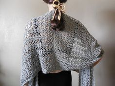 Silver Crochet Lace Shawls Wraps Fashion Accessories for Summer Spring – Robin Harley FREE SHIPPING $85.00