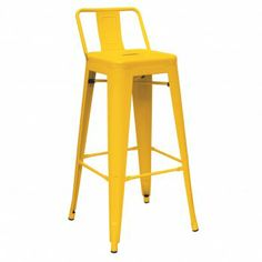 Great Yellow Metal Bar Stool With Back