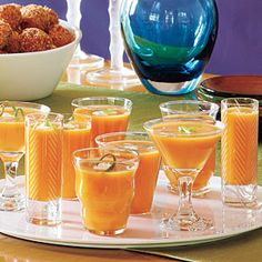 """Spiced Butternut-Pumpkin Soup.    I served these as """"shooters"""" before Thanksgiving dinner last year."""