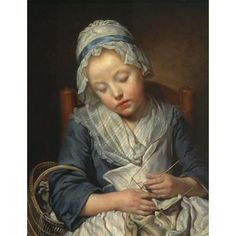 Jean Baptiste Greuze, French painter (1725-1805). 'Young Knitter Asleep'