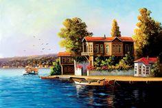 İlgili resim Oil Painting Pictures, Pictures To Paint, Art Pictures, House Landscape, Landscape Art, Landscape Paintings, Beautiful Paintings Of Nature, Beautiful Artwork, Mini Paintings
