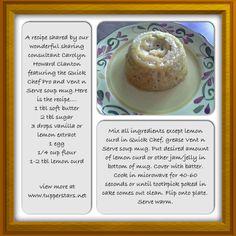 Lemon Cake in a Mug using a Tupperware Vent-n-Serve Soup Mug and Quick Chef Pro..Yummyness!