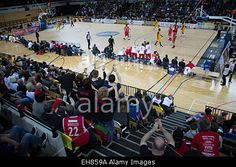Download this stock image: London, UK. 8th March, 2015. The London Lions basketball team play Leicester Riders, in the second leg of the BBL Trophy semi final at the Copper Box arena, Stratford, London UK © Ashok Saxena/Alamy Live News - EH859A from Alamy's library of millions of high resolution stock photos, Stock Photo, illustrations and vectors.
