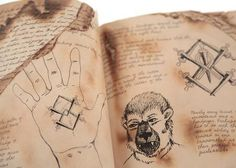 Nick's Grimm Book with Verrat Tattoo Illustrations - Current price: $700 Tattoo Illustrations, Grimm, Favorite Tv Shows, Films, Auction, Tattoos, Art, Betrayal, Movies