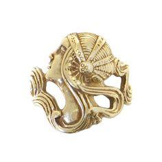 Art Nouveau Style Ring in 14K Gold Female by EncoreJewelryandGems