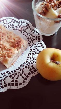 Apfelstreuselkuchen mit Linzerteig.