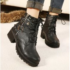 Casual Women's Short Boots with Buckle Black Lace-Up