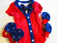 Nautical Baby Boy Set - Mittens - Shoes - Cardigan - Undershirt with Bow tie - Sailor baby set anchor baby items nautical baby anchor via Etsy