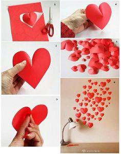 d.i.y Valentine Day Table Decorations, Diy Valentine's Day Decorations, Heart Wall Decor, Diy Wall Decor, Valentine Theme, Valentines Diy, Easy Diy Crafts, Craft Stick Crafts, Happy Birthday Cards Handmade