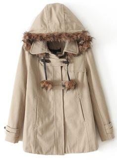 Khaki Faux Fur Hooded Horn Button Coat US$48.93