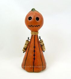 Pumpkin Monster Art Doll #BentWhimsStudio #artdoll #ooak #Halloweendoll #creepycute