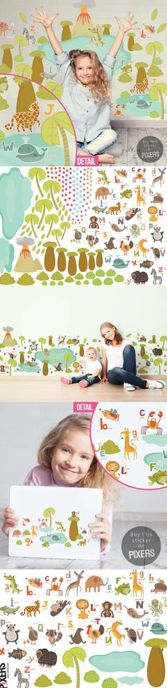 Let your kids' creativity shine! These gorgeous jungle stickers make a very pracitical yet perfect gift for any little monkey. Our new stickers combine learning with fun. Kids' can attach and detach stickers freely without damaging the walls! ☀ Available in small or large size. PIXERSIZE.COM