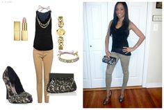 "What's On Me- Top: Express, Pants: Forever 21, Shoes: ""Padma"" from JustFab.com, Clutch: local store, Jewelry: Swarovski  Watch: Guess  Lipstick: Sephora"