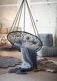 Bohemian Decor :: Boho Interior Design:: Beach Boho Chic :: Dream Home + Cool Living Space :: Ethnic:: Diseño de Interiores:: ZAIMARA Inspirations: : Room Goals, Swinging Chair, Bedroom Swing Chair, Deco Design, Home And Deco, Dream Rooms, Dream Bedroom, Master Bedroom, Bohemian Decor