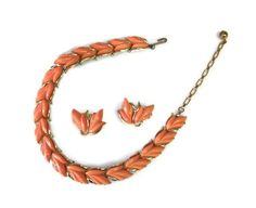 Kramer Necklace Set, Vintage Necklace and Clip Earrings, Vintage Choker Necklace, Peach/Coral Color in Gold Tone Setting, Vintage Jewellery. $45.00, via Etsy.