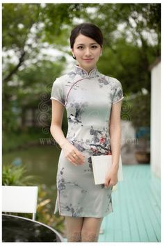 Silver gray Silk short cheongsam with plum and birds pattern - Custom-made Cheongsam,Chinese clothes, Qipao, Chinese Dresses, chinese clothing,EFU Tailor Shop