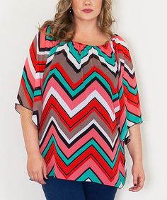 Look what I found on #zulily! Red & Teal Chevron Danica Top - Plus by Sealed With a Kiss Designs #zulilyfinds