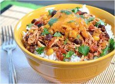 Slow Cooker Budget Taco Chicken Bowls | AllFreeSlowCookerRecipes.com