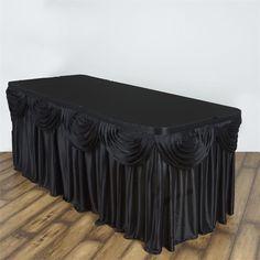 Satin Black Table Skirt 21'