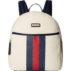 Tommy Hilfiger Lauren II Backpack (Natural) Backpack Bags ($45) ❤ liked on Polyvore featuring bags, backpacks, beige, white cotton bag, striped bag, tommy hilfiger, strap bag and tommy hilfiger backpack