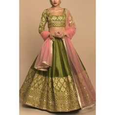 Green slub silk embroidered wedding lehenga choli Mehendi Outfits, Indian Bridal Outfits, Indian Designer Outfits, Designer Bridal Lehenga, Bridal Lehenga Choli, Indian Lehenga, Party Wear Lehenga, Party Wear Dresses, Wedding Dresses