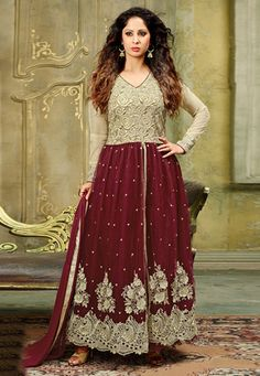 Embroidered Net Abaya Style Suit in Beige and Maroon