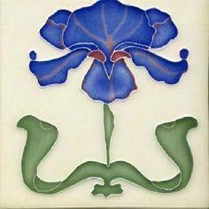 Art Tile, Art Nouveau Flower, Dark Blue and Green on Cream