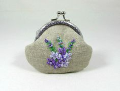 Floral linen coin purse,  hand embroidered purse, framed linen purse, purple silk ribbon embroidery, coin purse by JRsbags on Etsy