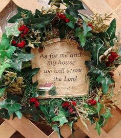 Small Grapevine Wreath  As For Me And For My by colonialcrafts, $21.00