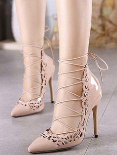 b1e90e5f21ab27 To find out about the Nude Point Toe Cut-work Lace Up Pumps at SHEIN