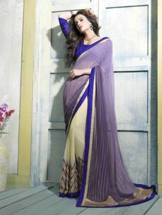 Purple and Cream Georgette Saree with Embroidery Work